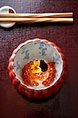 Salmon caviar on radish (Japan)