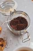 Chocolate grated in a small jar