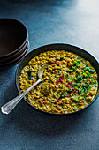 Indian dhal made with spices, lentils, coconut fresh curry leaves, chilli and fresh coriander