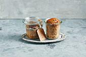 Sugar-free banana bread in jars