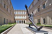 A bronze statue in the interior courtyard of the Museum Barberini, Potsdam, Brandenburg, Germany
