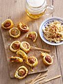 Sausage canapes and sauerkraut