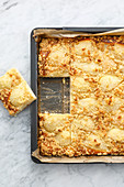 Pear crumble cake tray bake