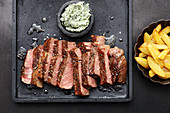 A reverse-seared rib-eye steak