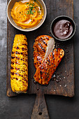 BBQ chicken steals with corn cobs from the US South