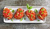 Tomato bruschetta with basil