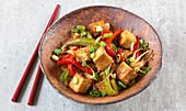 Stir-fried vegan tofu and vegetables