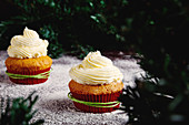 Yummy colorful cupcakes with whipped cream in red paper cups decorated with green rope placed near Christmas tree branches on table sprinkled with sugar powder