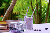 Tasty healthy blueberry smoothie served in glasses with straws on table with fresh berries and green plants on purple surface