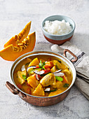 Vegetable and meat curry with pumpkin