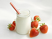 Natural yoghurt and fresh strawberries
