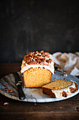 Carrot loaf cake with pecans