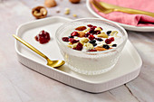 Yogurt with nuts topping
