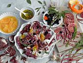 Radicchio salad with chioggia beets and oranges