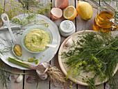 Mayonnaise with dill, garlic and lemon