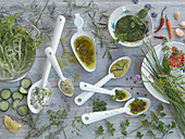 Various salad dressings made from herbs and spices