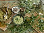 Sauce ravigote with ingredients – Dijon mustard, white wine vinegar and olives