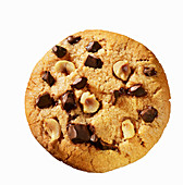 A chocolate chip cookies with hazelnuts