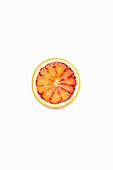 Blood Orange Slice on a White Background