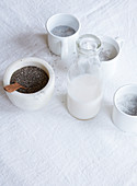 A cup of porridge with chia seeds