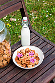 Bowl with yummy cinnamon cereal and glass bottle of milk placed on chair in countryside for breakfast