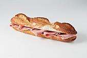 A baguette ham sandwich