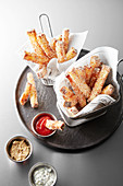 Pain perdu sticks with dips