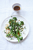 Wild broccoli salad with parsley and feta cheese