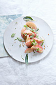Peach salad with herbs