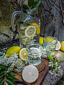 Water, elderflower and lemon