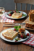 Chicken pie with lentil salad and goat's cheese