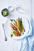 Guinea fowl breast with mixed asparagus and ginger tomatoes