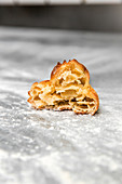 Baked pastry, cut