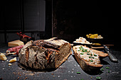 Wood-fired bread with goose lard, salami, cheese and mixed pickles