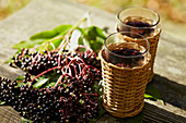 Elderberries and two glasses