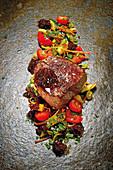 Grilled fillet steak with spring vegetables and shallot confit