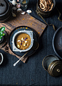 South Indian style vegan garlic curry with coconut paste