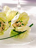 Small salad parcels with salmon cream