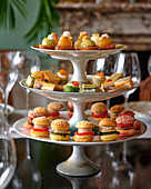 Various amuse bouche on a cake stand