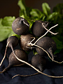 A bunch of black radishes