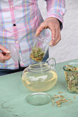 Lifting a glass filter with linden blossom tea out of a teapot