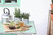 Verschiedene Tees und Auszüge aus Heilpflanzen und Kräutern