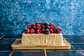 Espresso Ice Cream Cake with Frozen Berries
