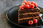 Chocolate layer cake slice with dulce de leche butter cream, ganache and raspberry