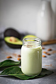 Glass jar with homemade natural yogurt