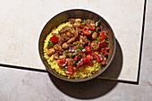 Lamb stew with garam masala and turmeric couscous