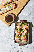 Summer rolls with bok choy and prawns