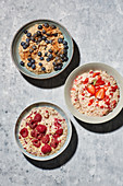 Oat dishes – oat and chai porridge, wholemeal muesli, overnight oats
