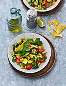 A Tex-Mex salad with avocado, kidney beans and jalapenos