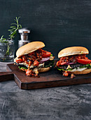 Portobello mushroom burgers with a tomato and date salsa